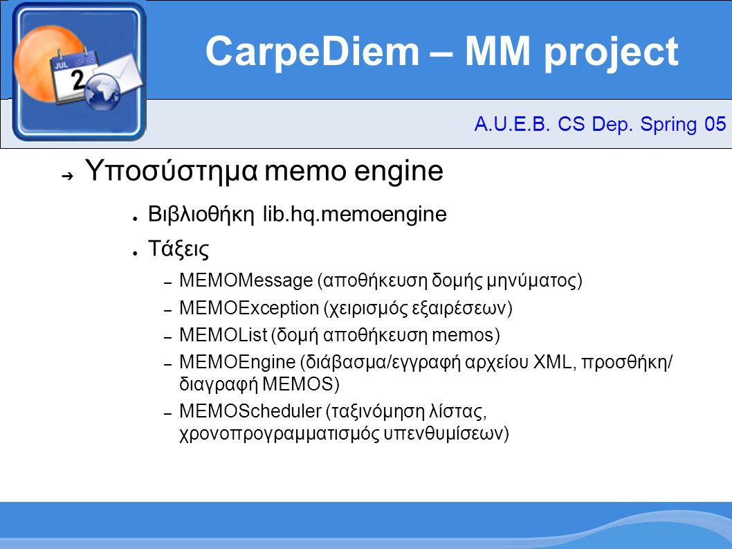 CarpeDiem – MM project ➔ Υποσύστημα Text-To-Speech A.U.E.B. CS Dep. Spring 05