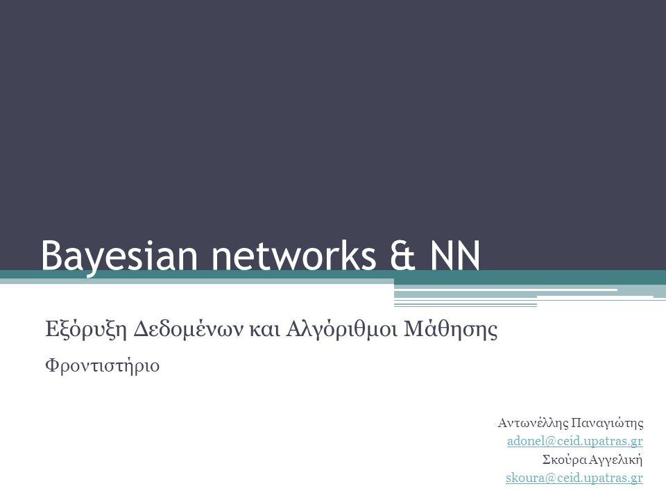 Bayesian networks •Ένα Bayesian δίκτυο είναι ένα γραφικό μοντέλο που κωδικοποιεί πιθανοτικές σχέσεις ανάμεσα σε ένα σύνολο μεταβλητών.