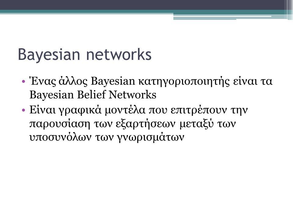 Bayesian networks •Ένας άλλος Bayesian κατηγοριοποιητής είναι τα Bayesian Belief Networks •Είναι γραφικά μοντέλα που επιτρέπουν την παρουσίαση των εξα