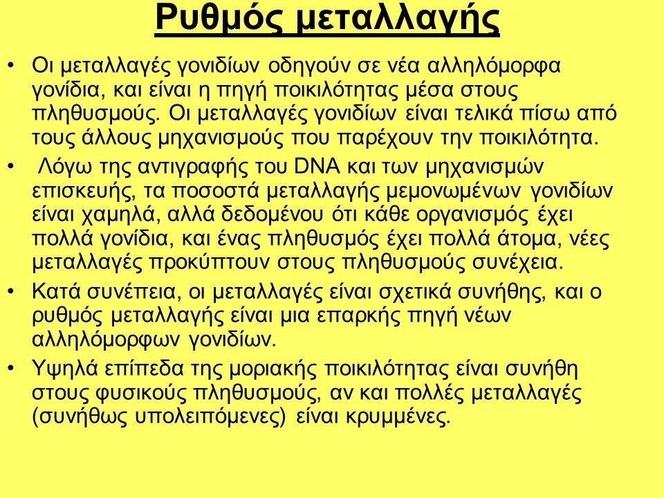 Ρυθμός μεταλλαγής •Οι μεταλλαγές γονιδίων οδηγούν σε νέα αλληλόμορφα γονίδια, και είναι η πηγή ποικιλότητας μέσα στους πληθυσμούς. Οι μεταλλαγές γονιδ