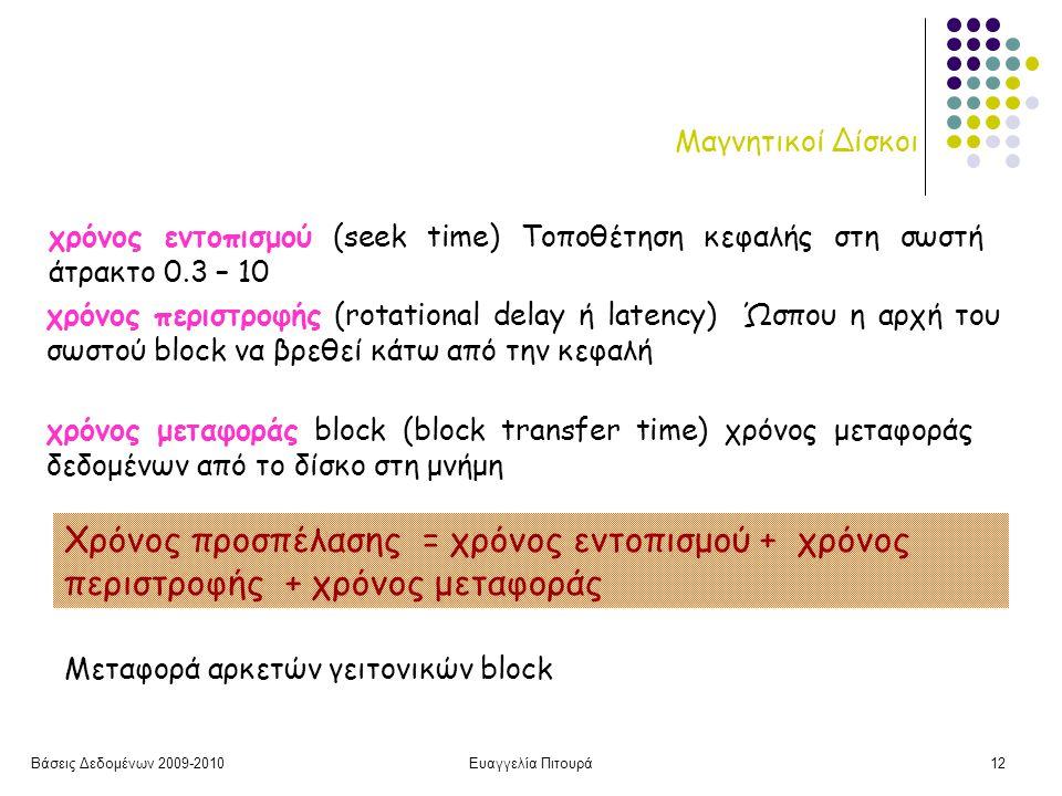 Βάσεις Δεδομένων 2009-2010Ευαγγελία Πιτουρά12 Μαγνητικοί Δίσκοι χρόνος εντοπισμού (seek time) Τοποθέτηση κεφαλής στη σωστή άτρακτο 0.3 – 10 χρόνος περιστροφής (rotational delay ή latency) Ώσπου η αρχή του σωστού block να βρεθεί κάτω από την κεφαλή χρόνος μεταφοράς block (block transfer time) χρόνος μεταφοράς δεδομένων από το δίσκο στη μνήμη Μεταφορά αρκετών γειτονικών block Χρόνος προσπέλασης = χρόνος εντοπισμού + χρόνος περιστροφής + χρόνος μεταφοράς