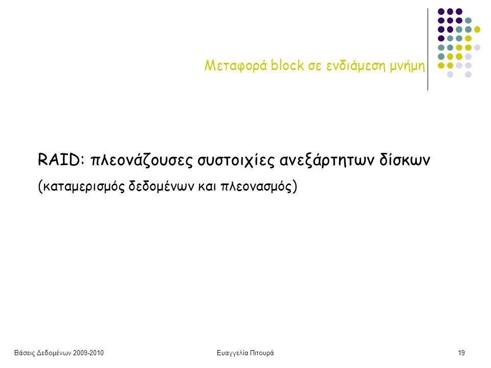 Βάσεις Δεδομένων 2009-2010Ευαγγελία Πιτουρά19 Μεταφορά block σε ενδιάμεση μνήμη RAID: πλεονάζουσες συστοιχίες ανεξάρτητων δίσκων (καταμερισμός δεδομένων και πλεονασμός)