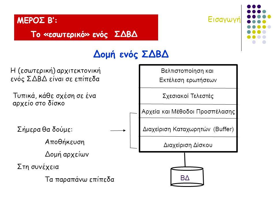 Βελτιστοποίηση και Εκτέλεση ερωτήσεων Σχεσιακοί Τελεστές Αρχεία και Μέθοδοι Προσπέλασης Διαχείριση Καταχωρητών (Buffer) Διαχείριση Δίσκου ΒΔ ΜΕΡΟΣ Β': Το «εσωτερικό» ενός ΣΔΒΔ Εισαγωγή Δομή ενός ΣΔΒΔ Τυπικά, κάθε σχέση σε ένα αρχείο στο δίσκο Η (εσωτερική) αρχιτεκτονική ενός ΣΔΒΔ είναι σε επίπεδα Σήμερα θα δούμε: Αποθήκευση Δομή αρχείων Στη συνέχεια Τα παραπάνω επίπεδα