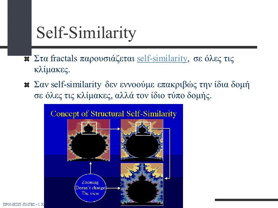ΠΡΟΜΕΣΙΠ -ΠΜΓΒΣ – Ι. Χουβαρδά Self-Similarity Στα fractals παρουσιάζεται self-similarity, σε όλες τις κλίμακες.self-similarity Σαν self-similarity δεν