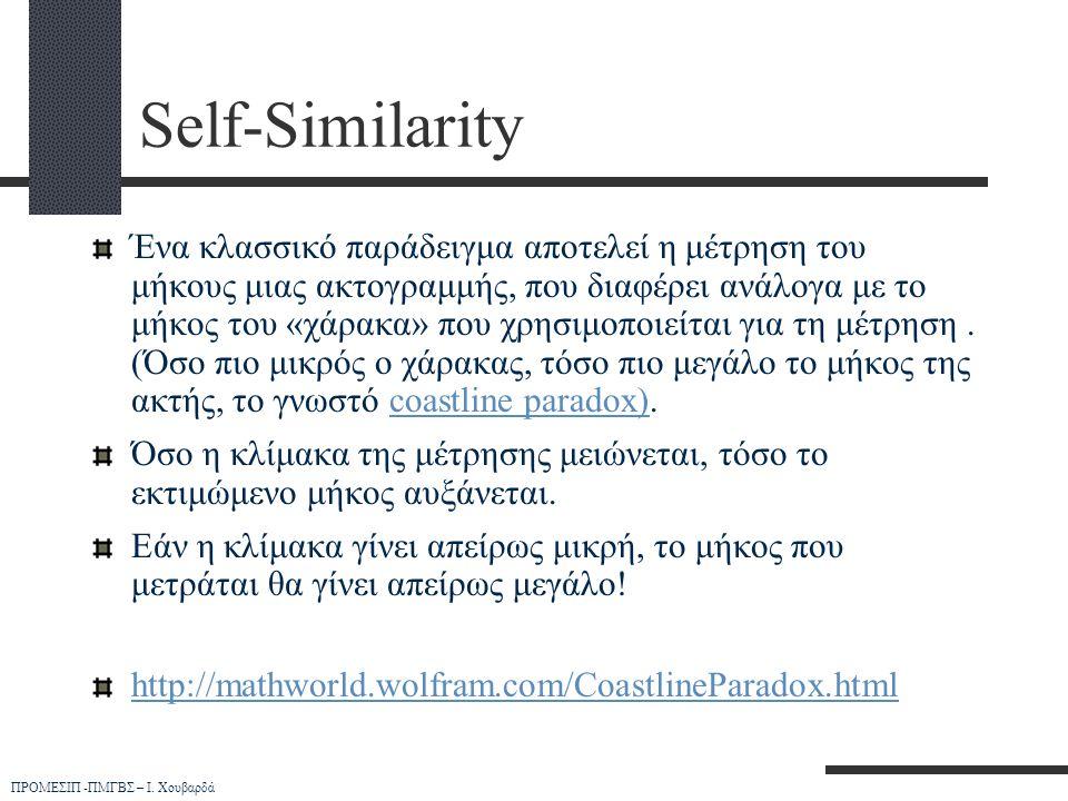 ΠΡΟΜΕΣΙΠ -ΠΜΓΒΣ – Ι. Χουβαρδά Self-Similarity Ένα κλασσικό παράδειγμα αποτελεί η μέτρηση του μήκους μιας ακτογραμμής, που διαφέρει ανάλογα με το μήκος