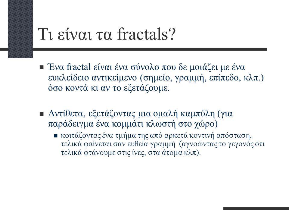 Τι είναι τα fractals?  Ένα fractal είναι ένα σύνολο που δε μοιάζει με ένα ευκλείδειο αντικείμενο (σημείο, γραμμή, επίπεδο, κλπ.) όσο κοντά κι αν το ε