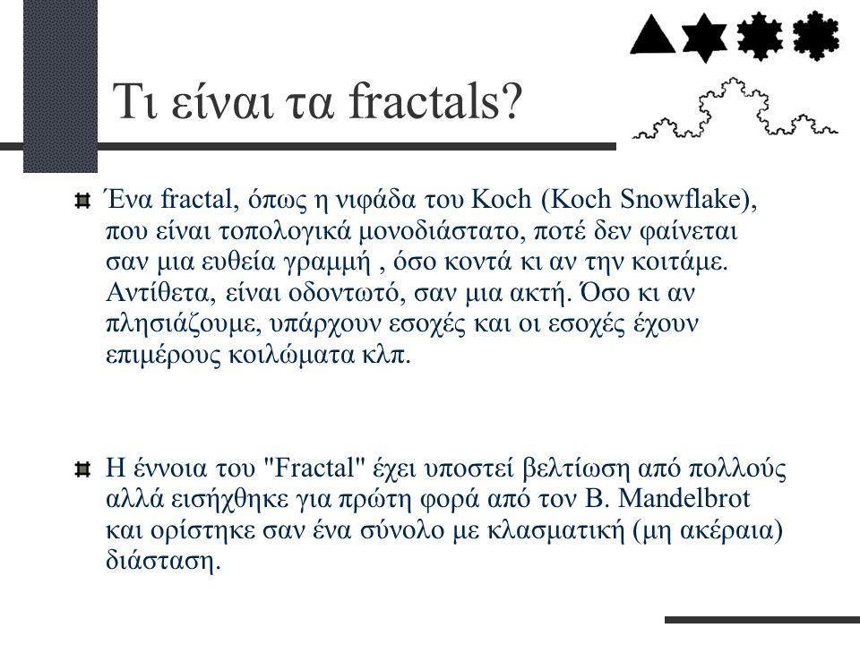 Τι είναι τα fractals? Ένα fractal, όπως η νιφάδα του Κoch (Κoch Snowflake), που είναι τοπολογικά μονοδιάστατο, ποτέ δεν φαίνεται σαν μια ευθεία γραμμή