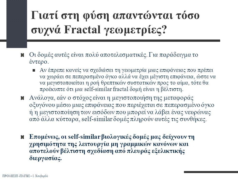 ΠΡΟΜΕΣΙΠ -ΠΜΓΒΣ – Ι. Χουβαρδά Γιατί στη φύση απαντώνται τόσο συχνά Fractal γεωμετρίες? Οι δομές αυτές είναι πολύ αποτελεσματικές. Για παράδειγμα το έν