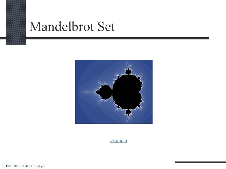 ΠΡΟΜΕΣΙΠ -ΠΜΓΒΣ – Ι. Χουβαρδά Mandelbrot Set example