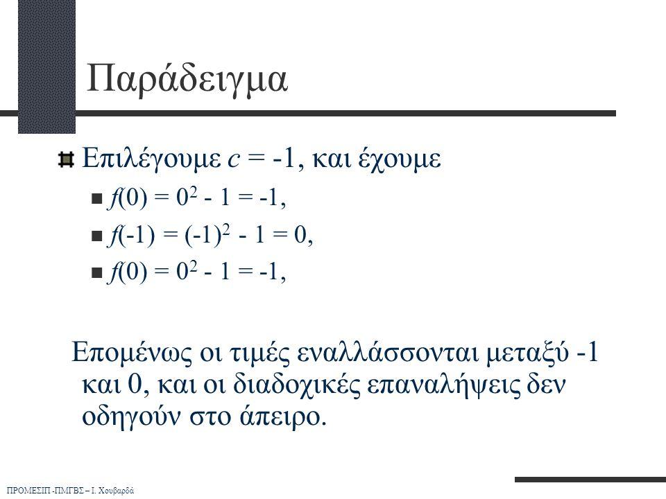 ΠΡΟΜΕΣΙΠ -ΠΜΓΒΣ – Ι. Χουβαρδά Παράδειγμα Επιλέγουμε c = -1, και έχουμε  f(0) = 0 2 - 1 = -1,  f(-1) = (-1) 2 - 1 = 0,  f(0) = 0 2 - 1 = -1, Επομένω