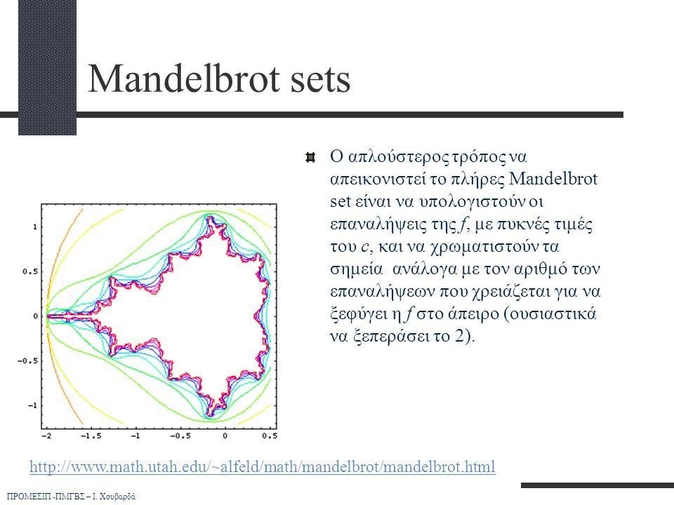 ΠΡΟΜΕΣΙΠ -ΠΜΓΒΣ – Ι. Χουβαρδά Mandelbrot sets Ο απλούστερος τρόπος να απεικονιστεί το πλήρες Mandelbrot set είναι να υπολογιστούν οι επαναλήψεις της f