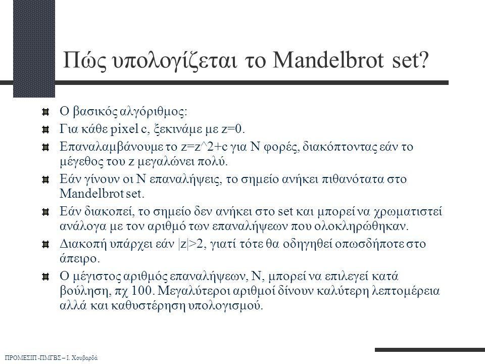 ΠΡΟΜΕΣΙΠ -ΠΜΓΒΣ – Ι. Χουβαρδά Πώς υπολογίζεται το Mandelbrot set? Ο βασικός αλγόριθμος: Για κάθε pixel c, ξεκινάμε με z=0. Επαναλαμβάνουμε το z=z^2+c