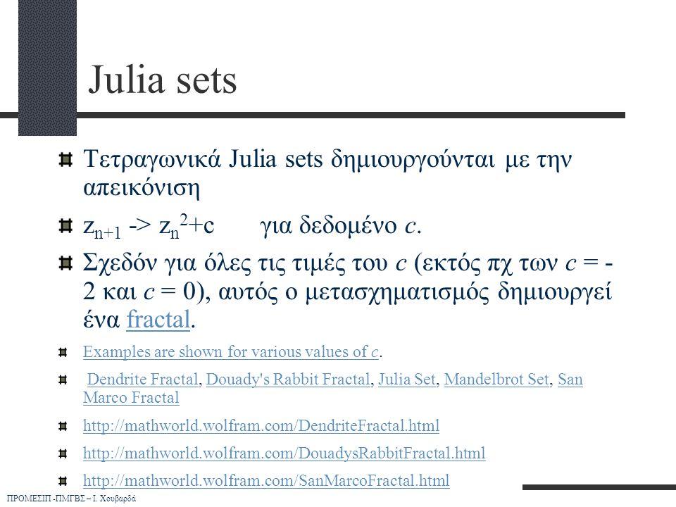 ΠΡΟΜΕΣΙΠ -ΠΜΓΒΣ – Ι. Χουβαρδά Julia sets Τετραγωνικά Julia sets δημιουργούνται με την απεικόνιση z n+1 -> z n 2 +cγια δεδομένο c. Σχεδόν για όλες τις