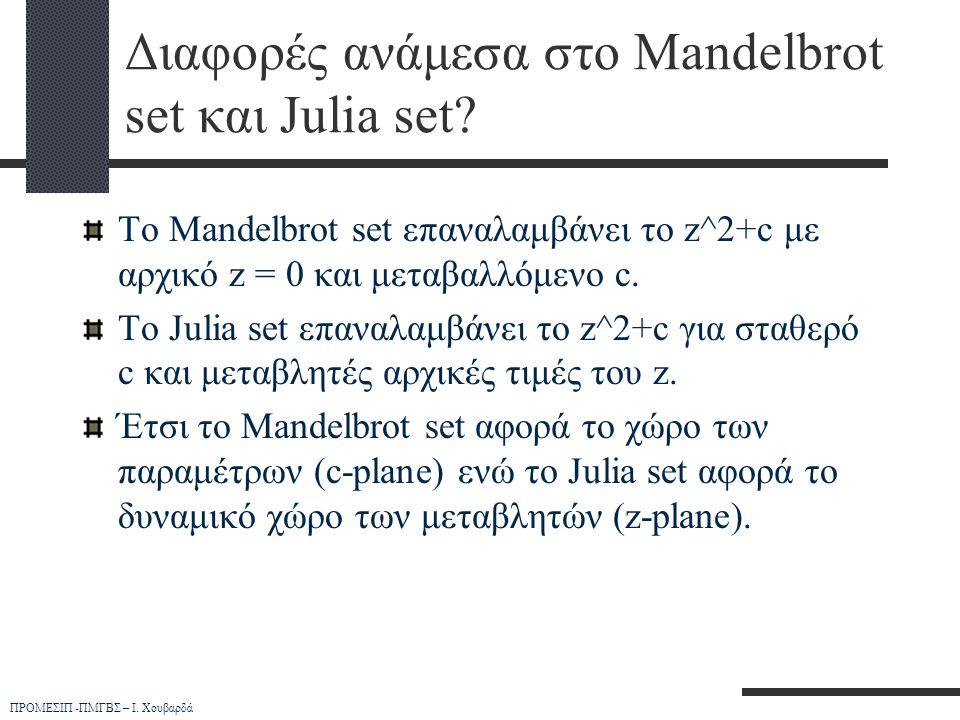 ΠΡΟΜΕΣΙΠ -ΠΜΓΒΣ – Ι. Χουβαρδά Διαφορές ανάμεσα στο Mandelbrot set και Julia set? Το Mandelbrot set επαναλαμβάνει το z^2+c με αρχικό z = 0 και μεταβαλλ