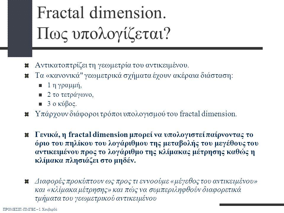 ΠΡΟΜΕΣΙΠ -ΠΜΓΒΣ – Ι. Χουβαρδά Fractal dimension. Πως υπολογίζεται? Αντικατοπτρίζει τη γεωμετρία του αντικειμένου. Τα «κανονικά