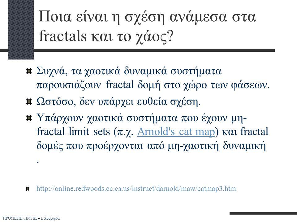 ΠΡΟΜΕΣΙΠ -ΠΜΓΒΣ – Ι. Χουβαρδά Ποια είναι η σχέση ανάμεσα στα fractals και το χάος? Συχνά, τα χαοτικά δυναμικά συστήματα παρουσιάζουν fractal δομή στο