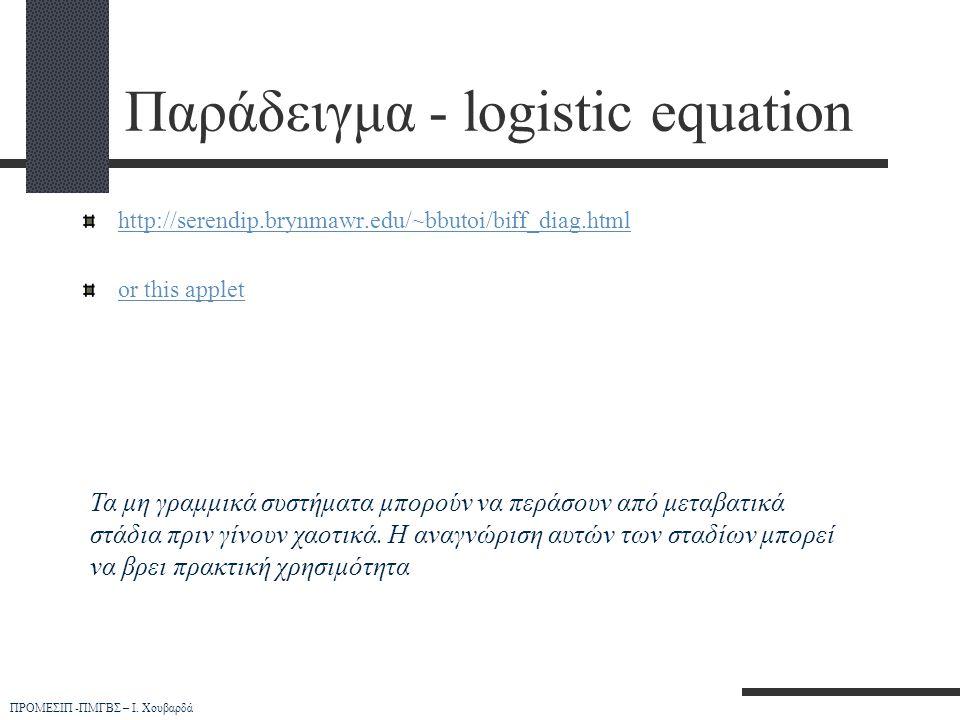 ΠΡΟΜΕΣΙΠ -ΠΜΓΒΣ – Ι. Χουβαρδά Παράδειγμα - logistic equation http://serendip.brynmawr.edu/~bbutoi/biff_diag.html or this applet Τα μη γραμμικά συστήμα
