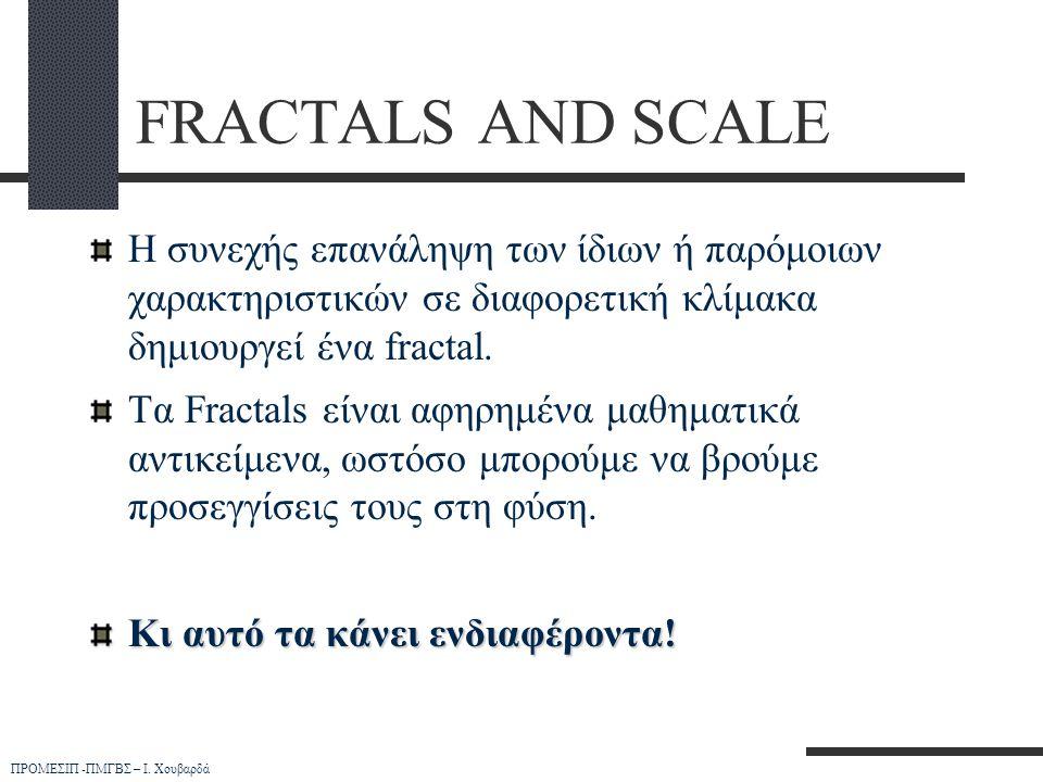 ΠΡΟΜΕΣΙΠ -ΠΜΓΒΣ – Ι. Χουβαρδά FRACTALS AND SCALE Η συνεχής επανάληψη των ίδιων ή παρόμοιων χαρακτηριστικών σε διαφορετική κλίμακα δημιουργεί ένα fract