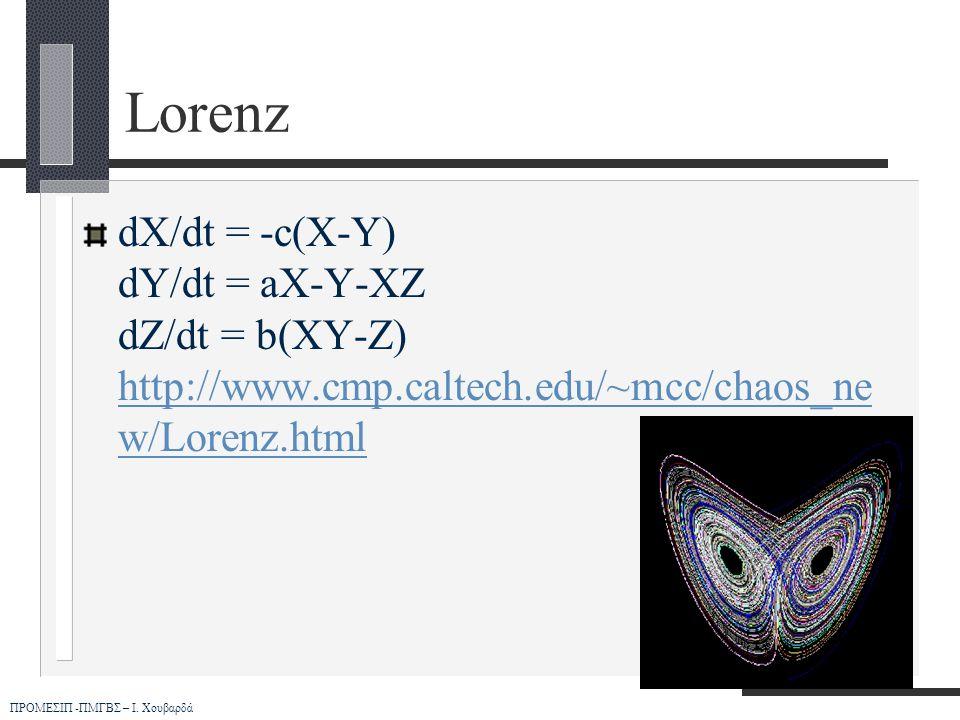 ΠΡΟΜΕΣΙΠ -ΠΜΓΒΣ – Ι. Χουβαρδά Lorenz dX/dt = -c(X-Y) dY/dt = aX-Y-XZ dZ/dt = b(XY-Z) http://www.cmp.caltech.edu/~mcc/chaos_ne w/Lorenz.html http://www