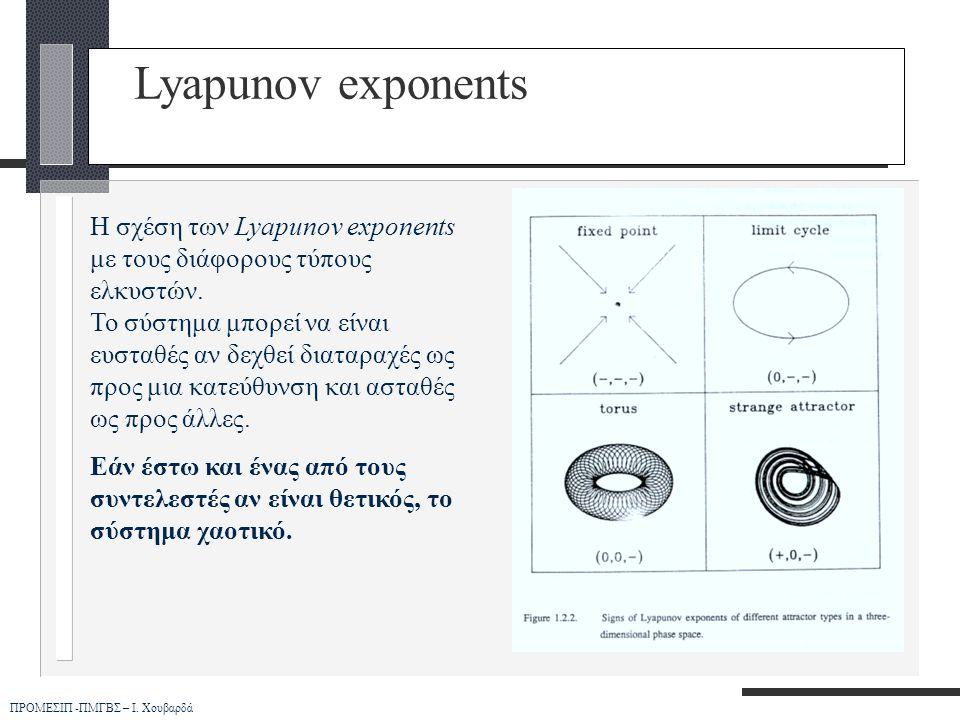 ΠΡΟΜΕΣΙΠ -ΠΜΓΒΣ – Ι. Χουβαρδά Lyapunov exponents Η σχέση των Lyapunov exponents με τους διάφορους τύπους ελκυστών. Το σύστημα μπορεί να είναι ευσταθές