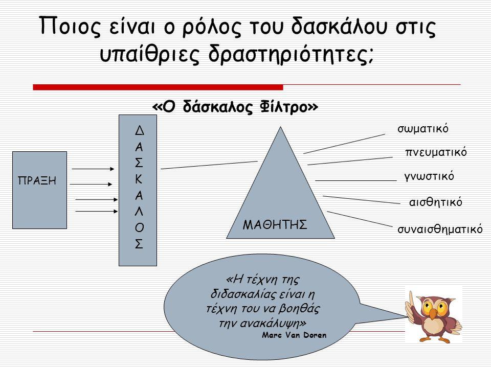 Ποιος είναι ο ρόλος του δασκάλου στις υπαίθριες δραστηριότητες; ΠΡΑΞΗ ΜΑΘΗΤΗΣ σωματικό αισθητικό συναισθηματικό πνευματικό γνωστικό ΔΑΣΚΑΛΟΣΔΑΣΚΑΛΟΣ «