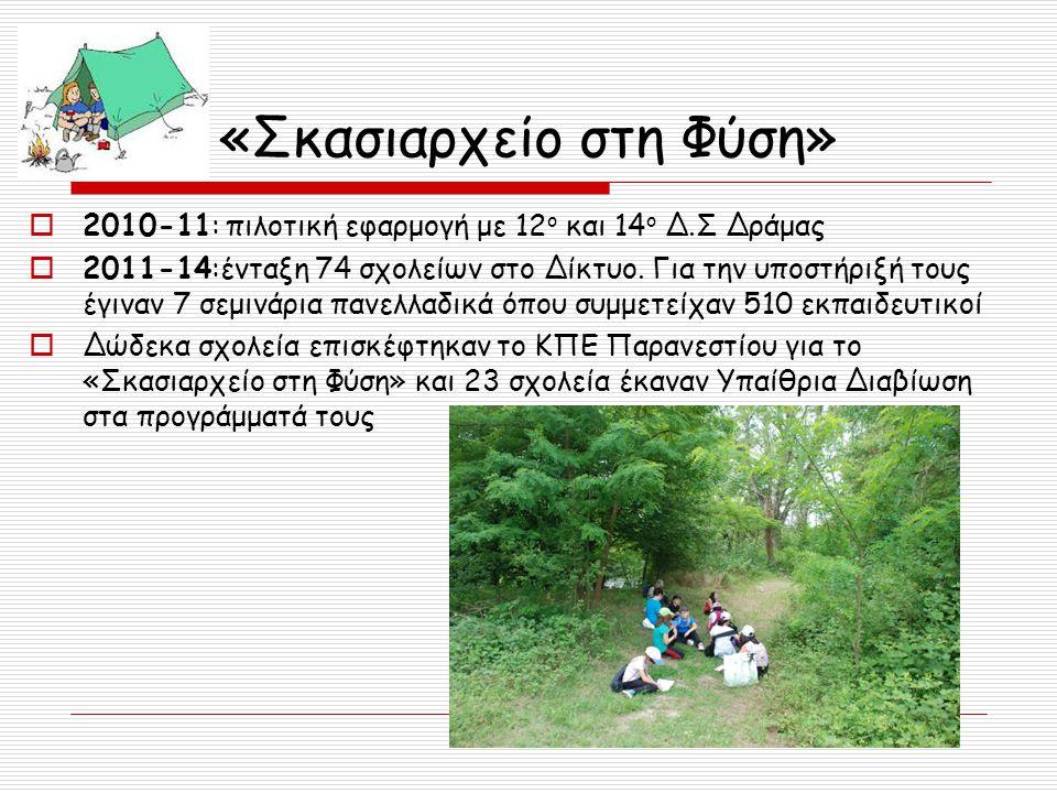 «Σκασιαρχείο στη Φύση»  2010-11: πιλοτική εφαρμογή με 12 ο και 14 ο Δ.Σ Δράμας  2011-14:ένταξη 74 σχολείων στο Δίκτυο. Για την υποστήριξή τους έγινα