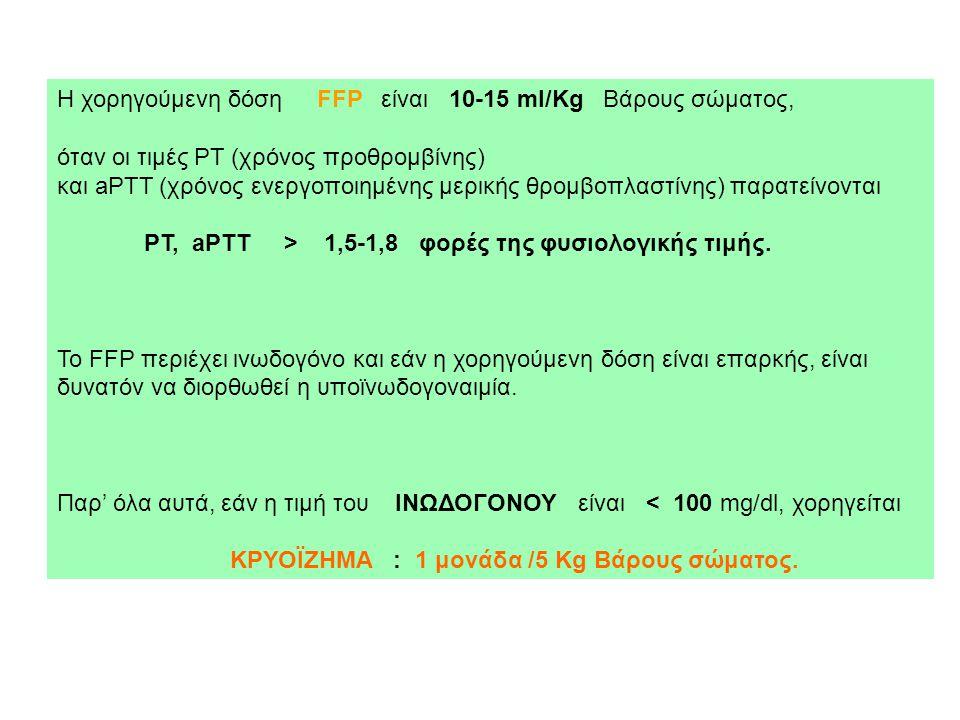 Η χορηγούμενη δόση FFP είναι 10-15 ml/Kg Βάρους σώματος, όταν οι τιμές PT (χρόνος προθρομβίνης) και aPTT (χρόνος ενεργοποιημένης μερικής θρομβοπλαστίν