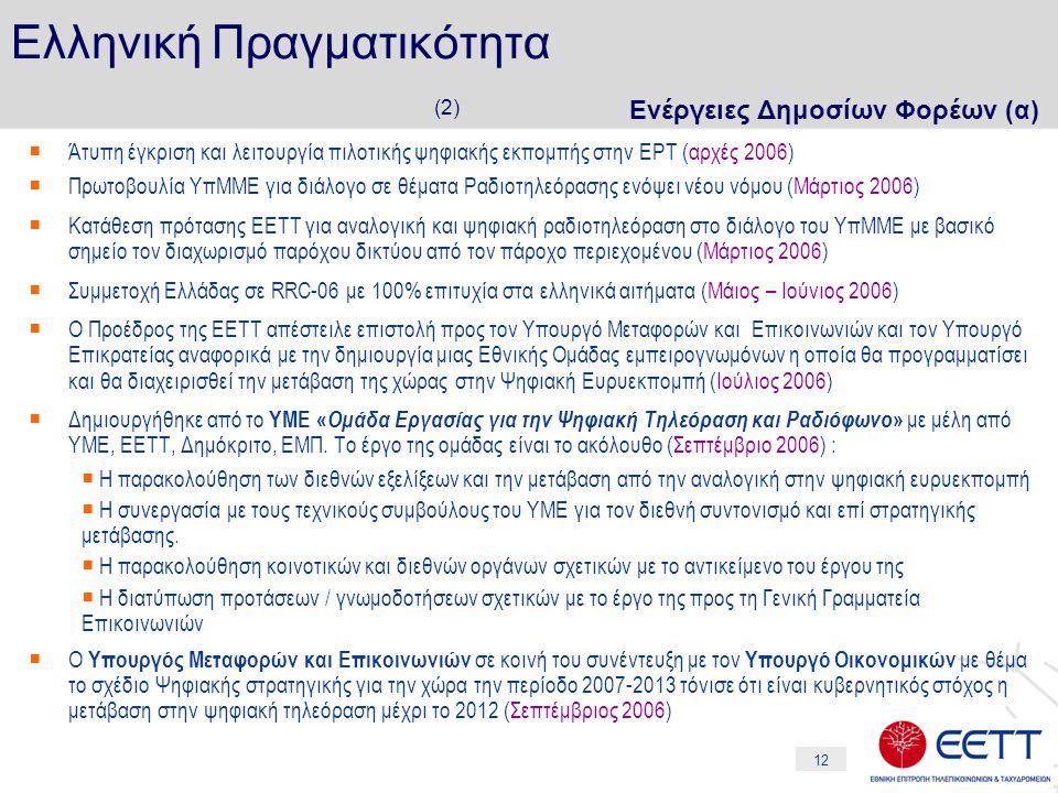 12 Ελληνική Πραγματικότητα (2) Ενέργειες Δημοσίων Φορέων (α)  Άτυπη έγκριση και λειτουργία πιλοτικής ψηφιακής εκπομπής στην ΕΡΤ (αρχές 2006)  Πρωτοβουλία ΥπΜΜΕ για διάλογο σε θέματα Ραδιοτηλεόρασης ενόψει νέου νόμου (Μάρτιος 2006)  Κατάθεση πρότασης ΕΕΤΤ για αναλογική και ψηφιακή ραδιοτηλεόραση στο διάλογο του ΥπΜΜΕ με βασικό σημείο τον διαχωρισμό παρόχου δικτύου από τον πάροχο περιεχομένου (Μάρτιος 2006)  Συμμετοχή Ελλάδας σε RRC-06 με 100% επιτυχία στα ελληνικά αιτήματα (Μάιος – Ιούνιος 2006)  Ο Προέδρος της ΕΕΤΤ απέστειλε επιστολή προς τον Υπουργό Μεταφορών και Επικοινωνιών και τον Υπουργό Επικρατείας αναφορικά με την δημιουργία μιας Εθνικής Ομάδας εμπειρογνωμόνων η οποία θα προγραμματίσει και θα διαχειρισθεί την μετάβαση της χώρας στην Ψηφιακή Ευρυεκπομπή (Ιούλιος 2006)  Δημιουργήθηκε από το ΥΜΕ « Ομάδα Εργασίας για την Ψηφιακή Τηλεόραση και Ραδιόφωνο » με μέλη από ΥΜΕ, ΕΕΤΤ, Δημόκριτο, ΕΜΠ.