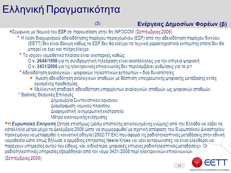 13 Ελληνική Πραγματικότητα (3) Ενέργειες Δημοσίων Φορέων (β)  Σύμφωνα με Νομικό του ΕΣΡ σε παρουσίαση στην 8η INFOCOM (Σεπτέμβριος 2006) * Η λύση δια