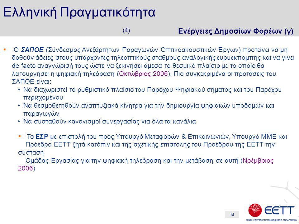 14 Ελληνική Πραγματικότητα (4) Ενέργειες Δημοσίων Φορέων (γ)  Ο ΣΑΠΟΕ (Σύνδεσμος Ανεξάρτητων Παραγωγών Οπτικοακουστικών Έργων) προτείνει να μη δοθούν