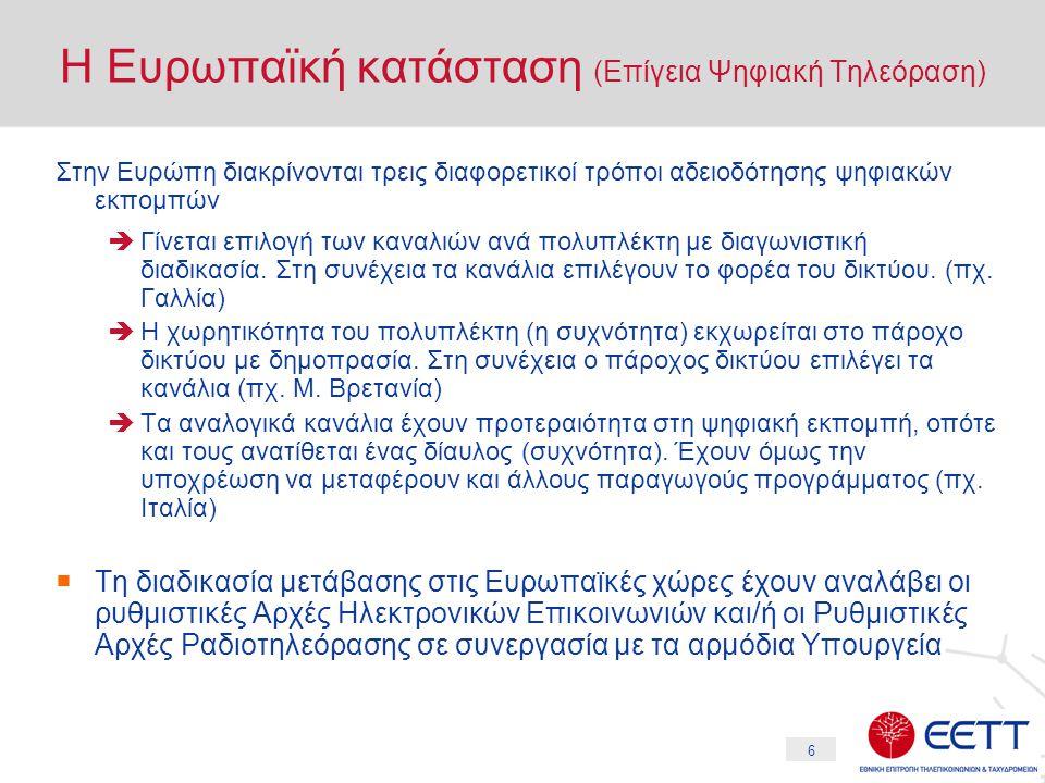17 Ελληνική Πραγματικότητα (7) Επιχειρηματικές Ενέργειες (β) IPTV  Διαφαίνονται κινήσεις συνεργασίας μεταξύ παρόχων δικτύου και παρόχων περιεχομένου για την μεταφορά τηλεοπτικού προγράμματος μέσω διαδικτύου υπό τη μορφή της IPTV Triple Play  Οι εναλλακτικοί πάροχοι τηλεφωνίας έχουν ήδη αρχίσει να διαφημίζουν την παροχή υπηρεσιών Triple Play (τηλεφωνία, διαδίκτυο, video) μέσω των κόμβων των ιδιόκτητων δικτύων τους