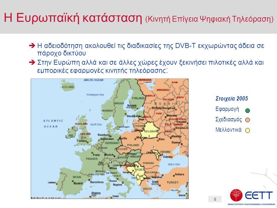 8  Η αδειοδότηση ακολουθεί τις διαδικασίες της DVB-T εκχωρώντας άδεια σε πάροχο δικτύου  Στην Ευρώπη αλλά και σε άλλες χώρες έχουν ξεκινήσει πιλοτικ