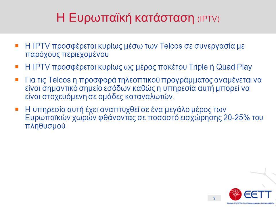 9 Η Ευρωπαϊκή κατάσταση (IPTV)  Η IPTV προσφέρεται κυρίως μέσω των Telcos σε συνεργασία με παρόχους περιεχομένου  Η IPTV προσφέρεται κυρίως ως μέρος πακέτου Triple ή Quad Play  Για τις Telcos η προσφορά τηλεοπτικού προγράμματος αναμένεται να είναι σημαντικό σημείο εσόδων καθώς η υπηρεσία αυτή μπορεί να είναι στοχευόμενη σε ομάδες καταναλωτών.