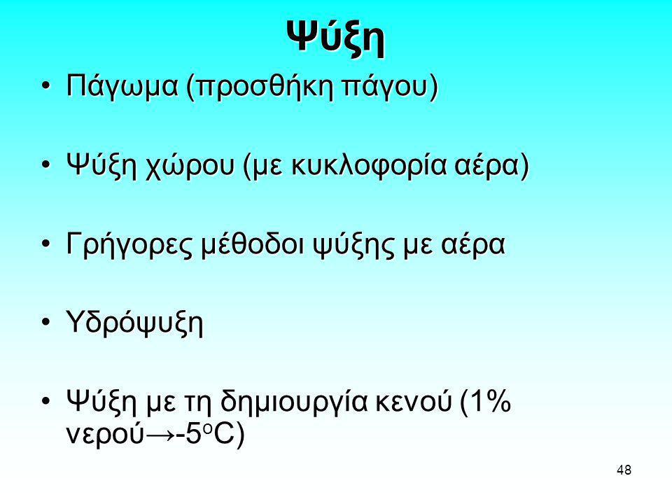 48 Ψύξη •Πάγωμα (προσθήκη πάγου) •Ψύξη χώρου (με κυκλοφορία αέρα) •Γρήγορες μέθοδοι ψύξης με αέρα •Υδρόψυξη •Ψύξη με τη δημιουργία κενού (1% νερού→-5