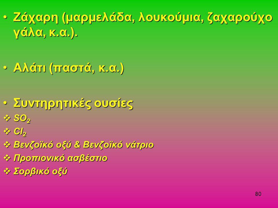 80 •Ζάχαρη (μαρμελάδα, λουκούμια, ζαχαρούχο γάλα, κ.α.). •Αλάτι (παστά, κ.α.) •Συντηρητικές ουσίες  SO 2  Cl 2  Βενζοϊκό οξύ & Βενζοϊκό νάτριο  Πρ