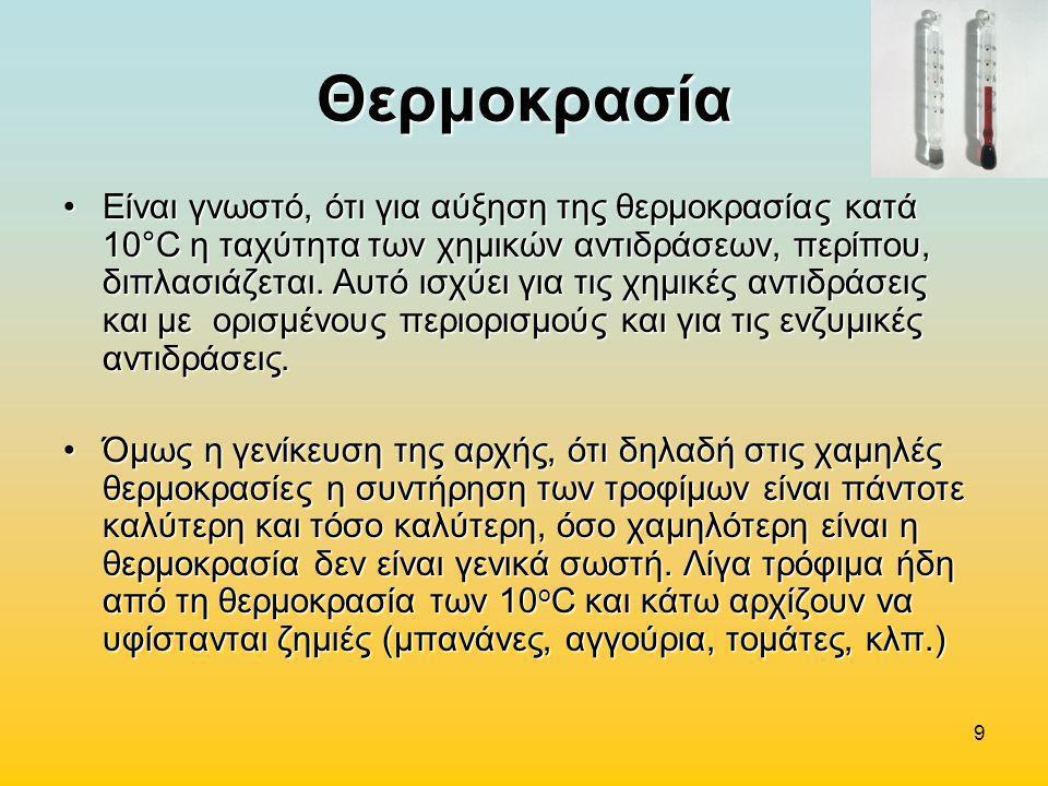 9 Θερμοκρασία •Είναι γνωστό, ότι για αύξηση της θερμοκρασίας κατά 10°C η ταχύτητα των χημικών αντιδράσεων, περίπου, διπλασιάζεται. Αυτό ισχύει για τις