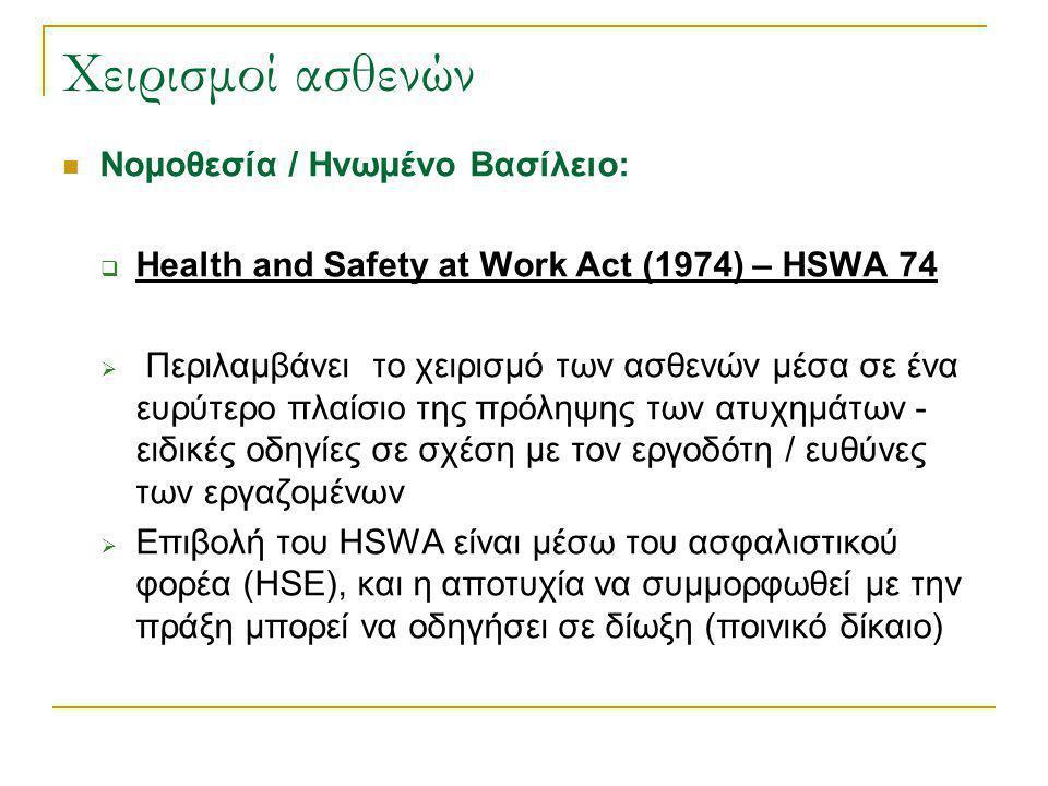 Χειρισμοί ασθενών Νομοθεσία:  Συγκεκριμένα με τη Mεταφορά / Mετακίνηση:  Manual Handling Operations Regulation (MHOR) 1992, τροποποίηση το 1998, 2004  Provision and Use of Work Equipment Regulations (PUWER) 1998  Lifting Operations and Lifting Equipment Regulations (LOLER) 1998  Τρεις κανονισμοί που εφαρμόζονται από τη Βρετανική νομοθεσία, έπειτα από διάφορες οδηγίες που εκδίδονται από την Ευρωπαϊκή Κοινότητα
