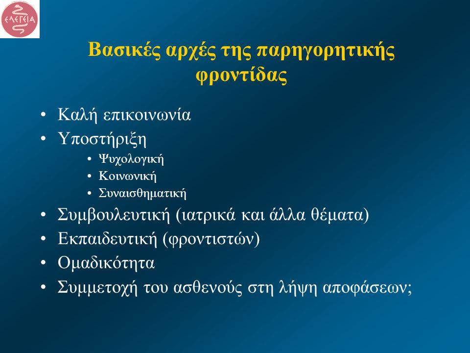 Βασικές αρχές της παρηγορητικής φροντίδας •Καλή επικοινωνία •Υποστήριξη •Ψυχολογική •Κοινωνική •Συναισθηματική •Συμβουλευτική (ιατρικά και άλλα θέματα