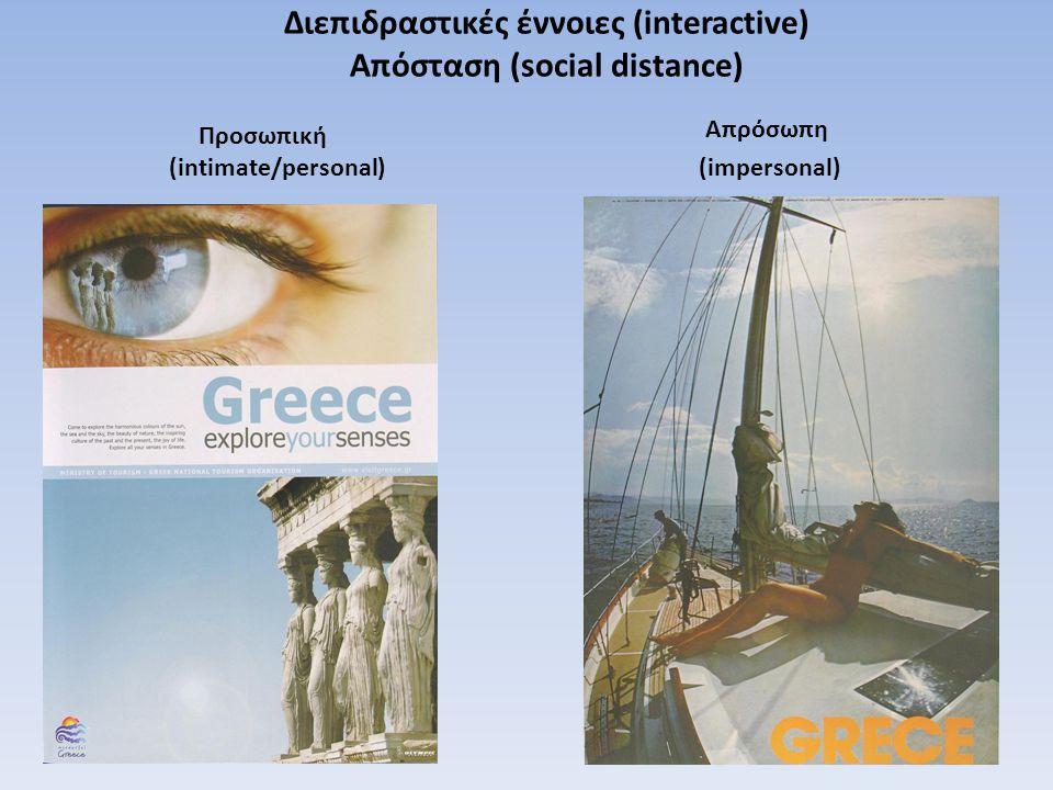 Διεπιδραστικές έννοιες (interactive) Απόσταση (social distance) Προσωπική (intimate/personal) Απρόσωπη (impersonal)
