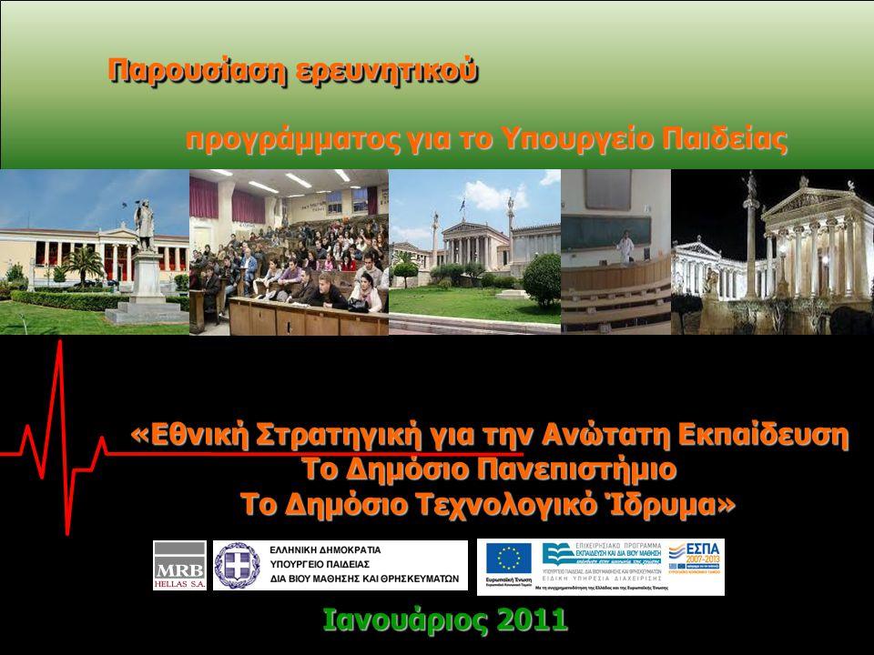 1 Ιανουάριος 2011 Πανελλαδικές Τηλεφωνικές Έρευνες Ιανουάριος 2011 Πανελλαδικές Τηλεφωνικές Έρευνες Παρουσίαση ερευνητικού προγράμματος για το Υπουργείο Παιδείας Ιανουάριος 2011 «Εθνική Στρατηγική για την Ανώτατη Εκπαίδευση Το Δημόσιο Πανεπιστήμιο Το Δημόσιο Τεχνολογικό Ίδρυμα»