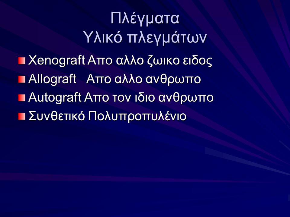Πλέγματα Υλικό πλεγμάτων Xenograft Απο αλλο ζωικο ειδος Allograft Απο αλλο ανθρωπο Autograft Απο τον ιδιο ανθρωπο Συνθετικό Πολυπροπυλένιο