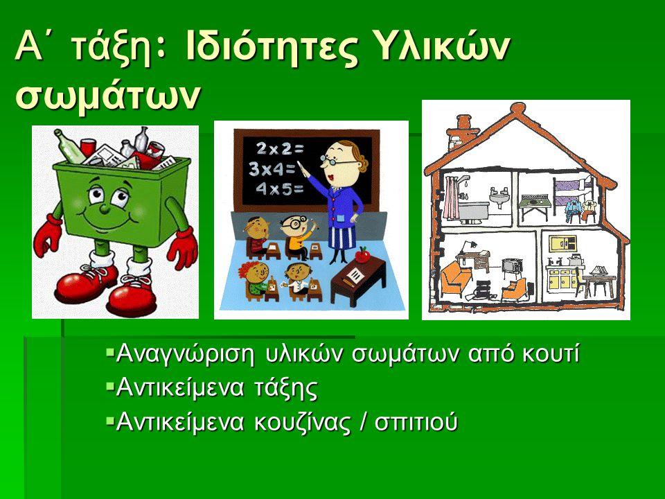 Α΄ τάξη : Ιδιότητες Υλικών σωμάτων  Αναγνώριση υλικών σωμάτων από κουτί  Αντικείμενα τάξης  Αντικείμενα κουζίνας / σπιτιού
