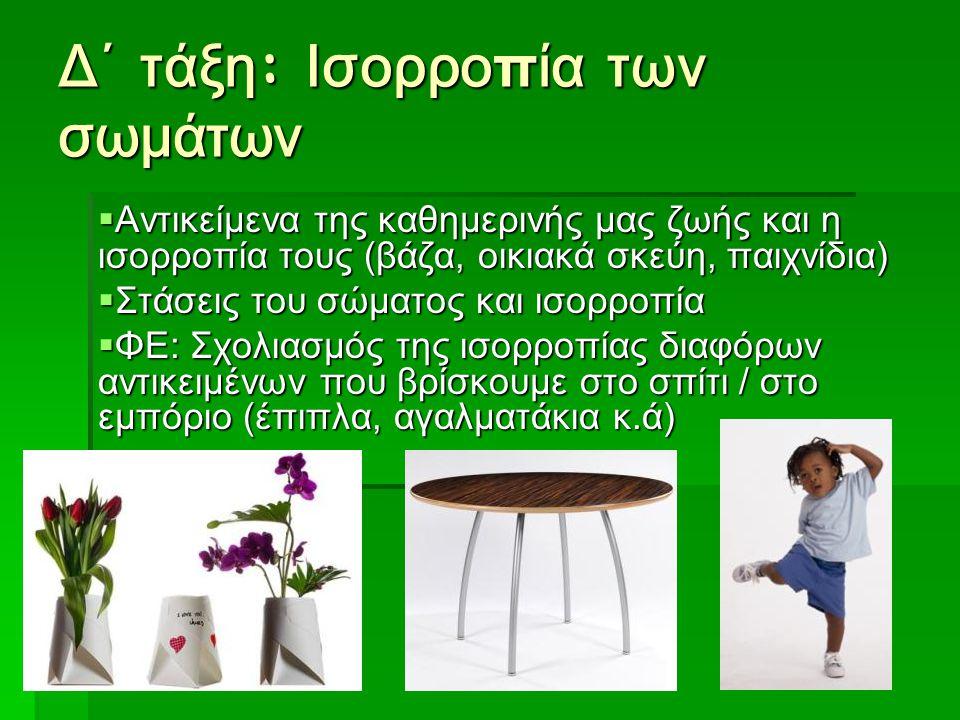 Δ΄ τάξη : Ισορροπία των σωμάτων  Αντικείμενα της καθημερινής μας ζωής και η ισορροπία τους (βάζα, οικιακά σκεύη, παιχνίδια)  Στάσεις του σώματος και