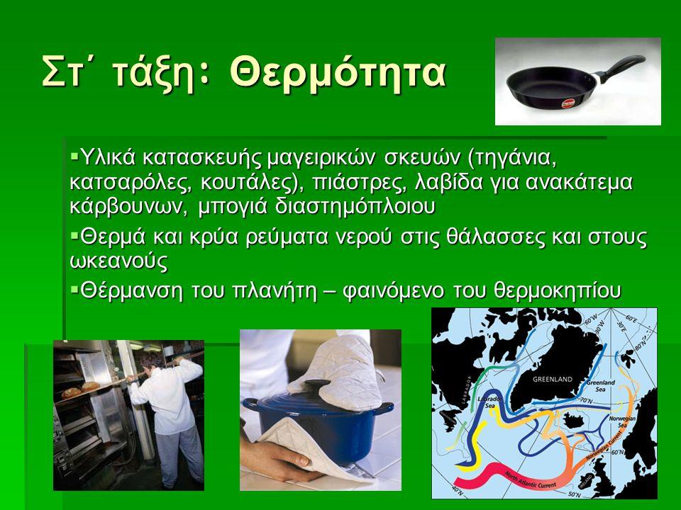 Στ΄ τάξη : Θερμότητα  Υλικά κατασκευής μαγειρικών σκευών (τηγάνια, κατσαρόλες, κουτάλες), πιάστρες, λαβίδα για ανακάτεμα κάρβουνων, μπογιά διαστημόπλ