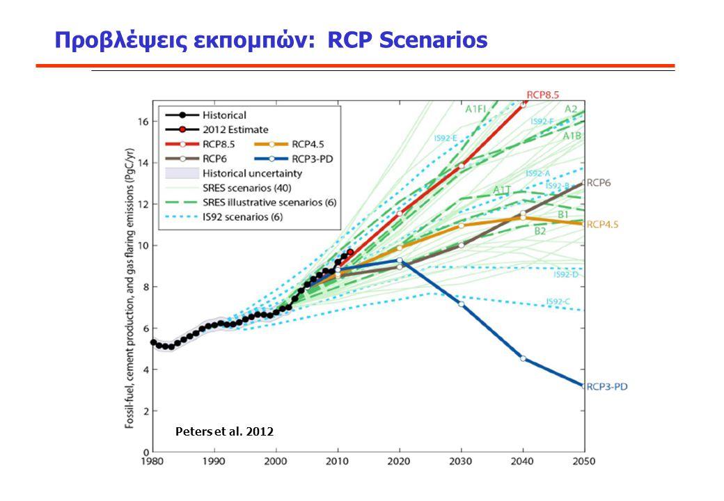 Προβλέψεις εκπομπών: RCP Scenarios Δ. Π. Λάλας e-mail: lalas@facets.gr Peters et al. 2012
