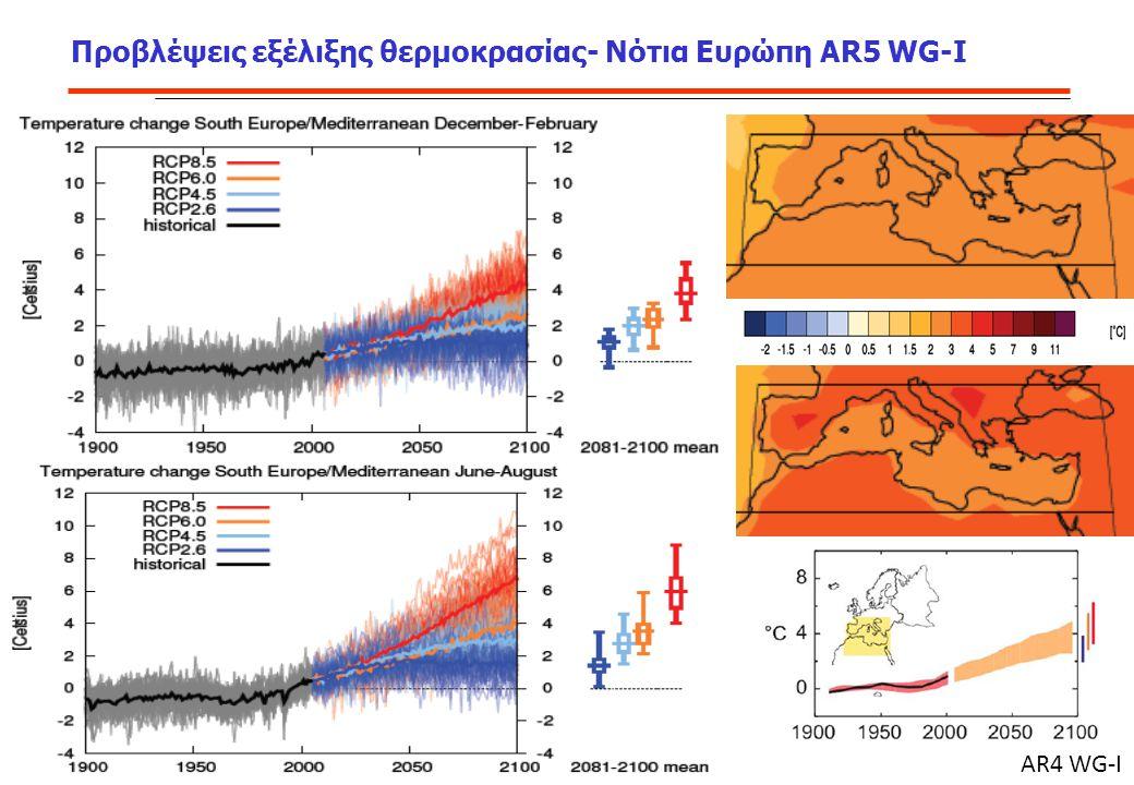 Προβλέψεις εξέλιξης θερμοκρασίας- Νότια Ευρώπη AR5 WG-I AR4 WG-I