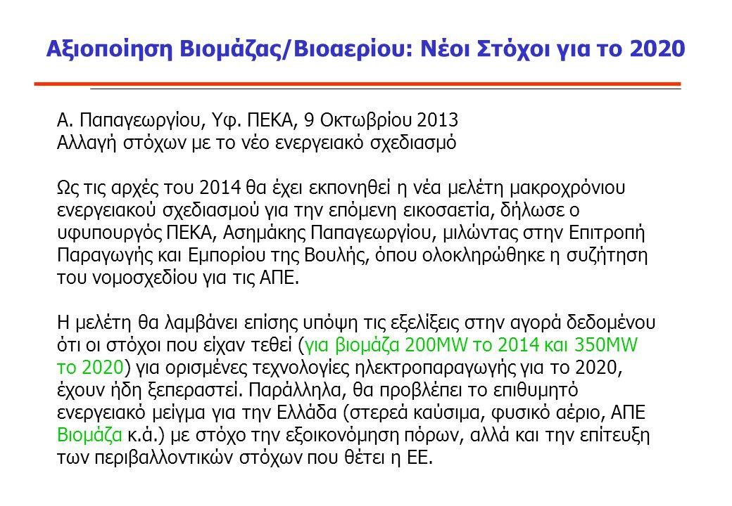 Αξιοποίηση Βιομάζας/Βιοαερίου: Νέοι Στόχοι για το 2020 A. Παπαγεωργίου, Υφ. ΠΕΚΑ, 9 Οκτωβρίου 2013 Αλλαγή στόχων με το νέο ενεργειακό σχεδιασμό Ως τις