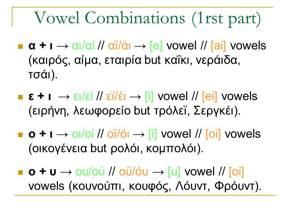 Vowel Combinations (1rst part)  α + ι → αι/αί // αϊ/άι → [e] vowel // [ai] vowels (καιρός, αίμα, εταιρία but καΐκι, νεράιδα, τσάι).  ε + ι → ει/εί /