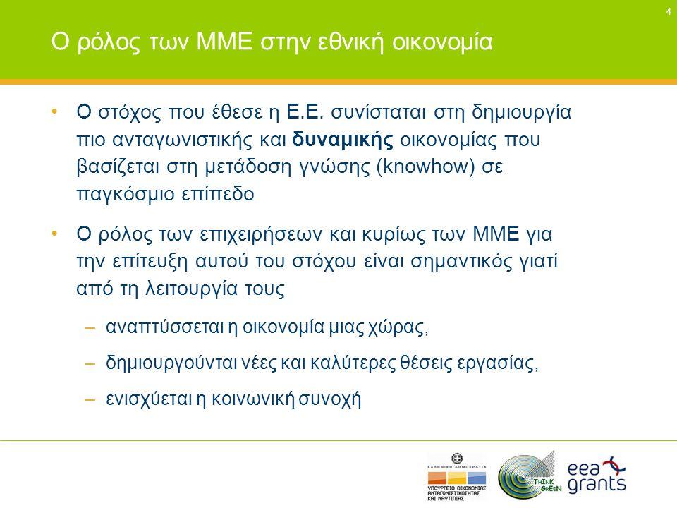 4 Ο ρόλος των ΜΜΕ στην εθνική οικονομία •Ο στόχος που έθεσε η Ε.Ε. συνίσταται στη δημιουργία πιο ανταγωνιστικής και δυναμικής οικονομίας που βασίζεται