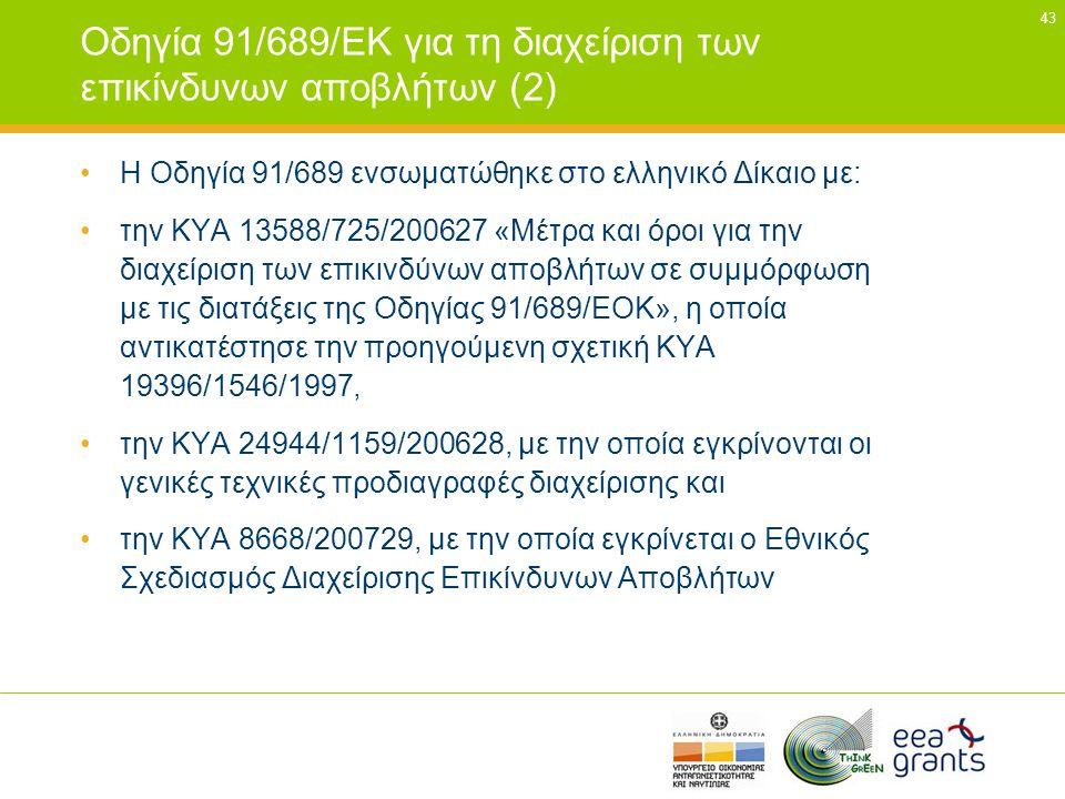43 Οδηγία 91/689/ΕΚ για τη διαχείριση των επικίνδυνων αποβλήτων (2) •Η Οδηγία 91/689 ενσωµατώθηκε στο ελληνικό Δίκαιο µε: •την ΚΥΑ 13588/725/200627 «Μ